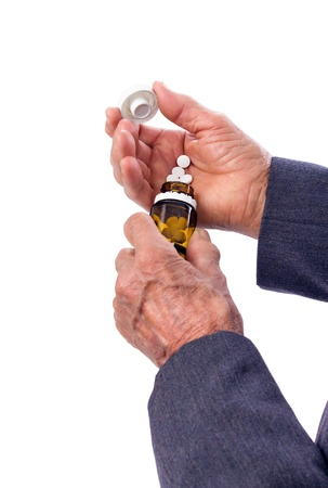 self dependent: Closeup of an old man with supplement