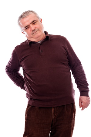 Senior man with acute back ache  against white background photo