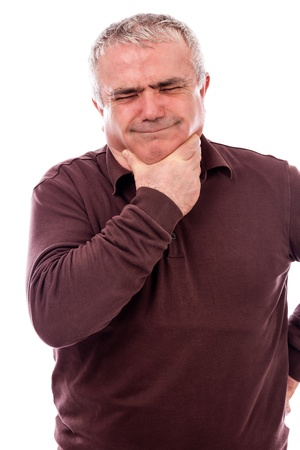 Senior man with throat pain isolated on white background