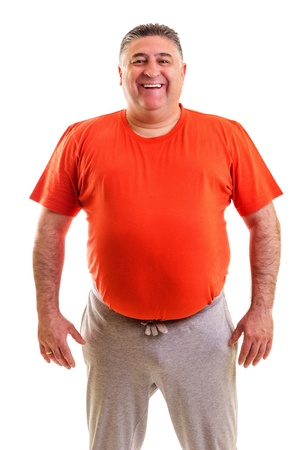 belly fat: Portrait of a fat man smiling on white background Stock Photo