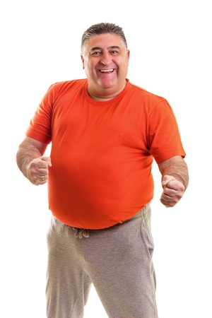 fat person: Portrait of a happy fat man posing in studio against white background
