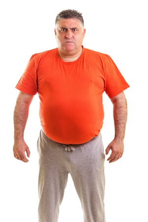 Portrait of an expressive fat  man isolated white background Standard-Bild