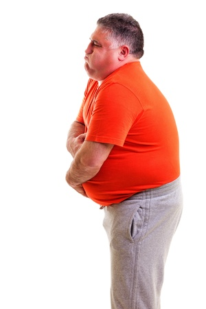colitis: Overweight man with strong stomach pain  isolated on white background Stock Photo