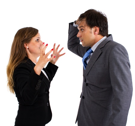 Two business colleagues having an argument over white background photo
