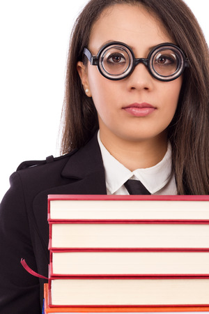 Closeup portrait of a young serious teacher with glasses isolated on white background photo
