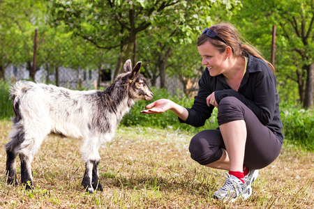 Portrait of a young woman playing  baby goat outdoor photo