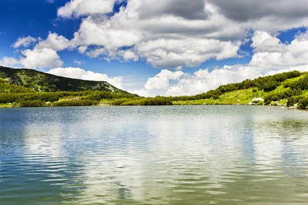 Beautiful summer landscape with Calcescu lake in Parang mountains,Romania photo