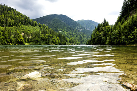 Landscape with lake Galbenu in Romania in a summer day photo