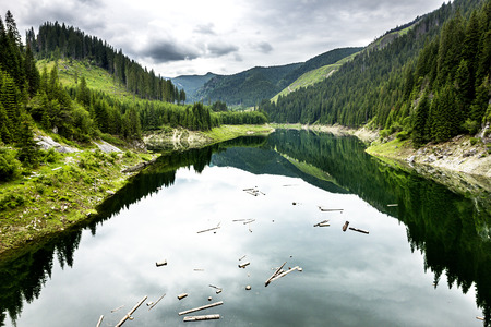 Beautiful landscape with lake Galbenu in Romania in a summer day photo