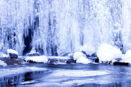 icefall: Beautiful winter landscape with frozen waterfall, ice Stock Photo