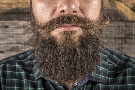Closeup of a man beard and mustache over wooden background.Perfect beard photo