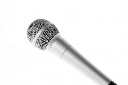 audiophile: Aluminium professional concert microphone closeup isolated on white background Stock Photo