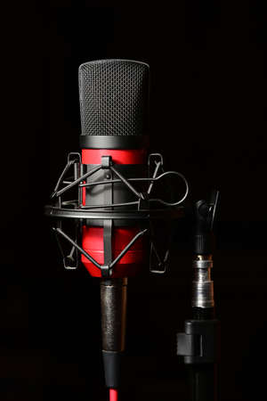 Professional recording studio condenser microphone attached to shock mount, isolated on black background Stock Photo