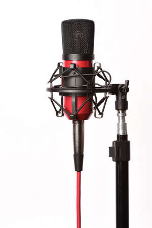 condenser: Professional studio condenser microphone with cord, isolated on white background