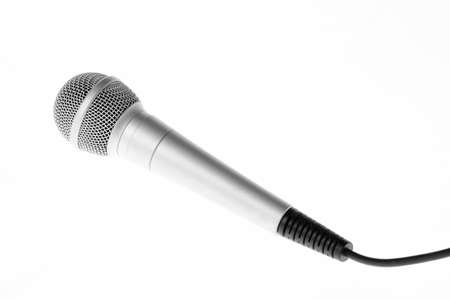audiophile: Concert microphone with cord isolated on white background Stock Photo