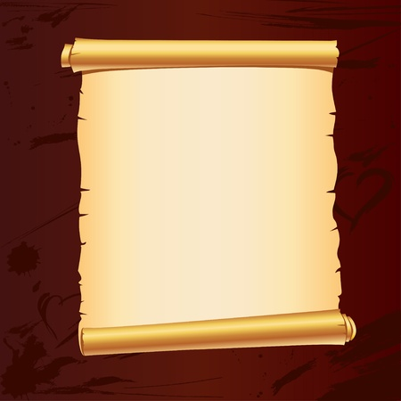 parchment scroll: old parchment scroll on dark background