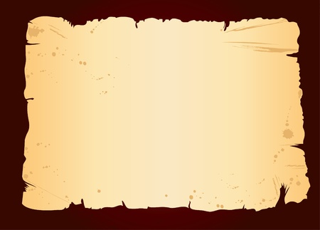 lacerated: old blank sheet of paper on dark grunge background Illustration