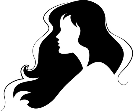 Silhouette of beauty girl black  Vector