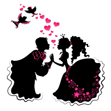 Romantic slhouette of girl and boy with birds and hards Vector