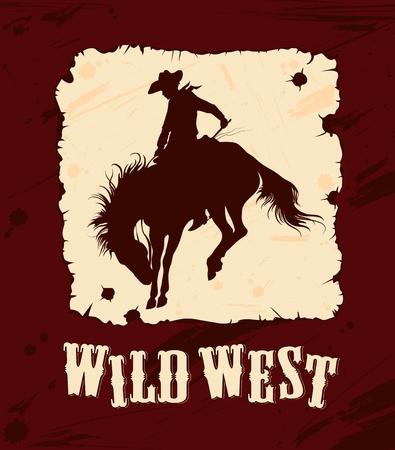 edad de fondo del oeste salvaje con la silueta de Kowboy a caballo Ilustración de vector
