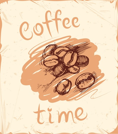 coffee time: abctract background with hand-drawn coffee