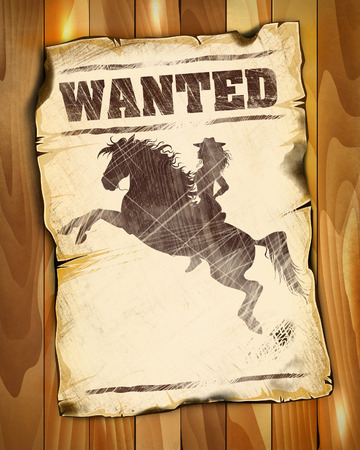 wanted poster: wanted poster empty with silhouette of a beauty girl on horseback illustration Stock Photo