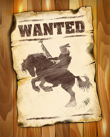 wanted poster: wanted poster with american indian silhouette on horseback illustration Stock Photo