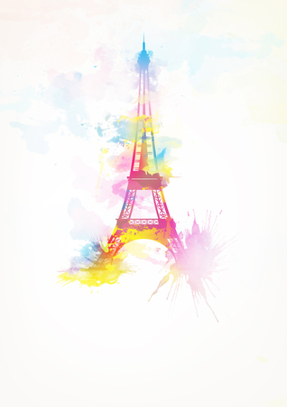 nice france: Eiffel Tower watercolor background pink version illustration poster Stock Photo