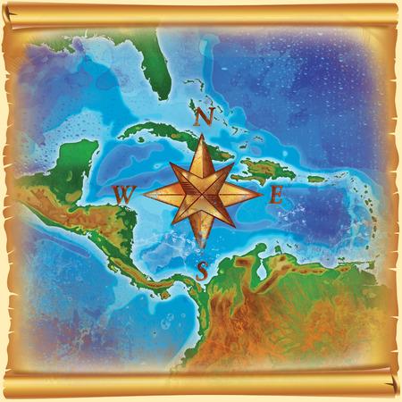 caribbean: old color caribbean islands map