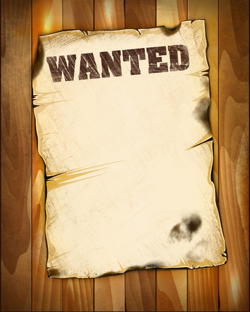 wanted poster: wanted poster empty on wooden background Stock Photo