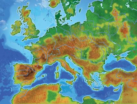czech switzerland: dettagliata di colore disegnato europa mappa Archivio Fotografico