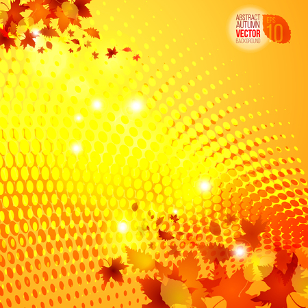 sunspot: yellow autumn template vector halftone background Illustration