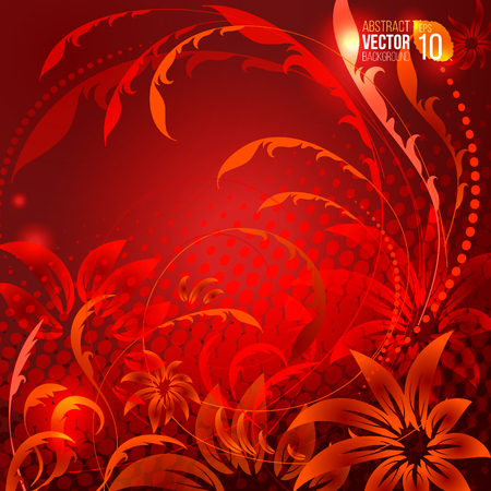 abstract red background with ornamental flowers curls and halfrone vector illuastration good for your design Illustration