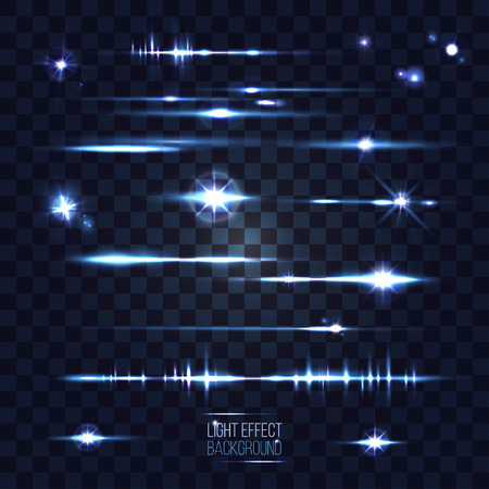 stars and stripes: set of abstract lens stars stripes and flares on transparent background vector illustration. part of collection