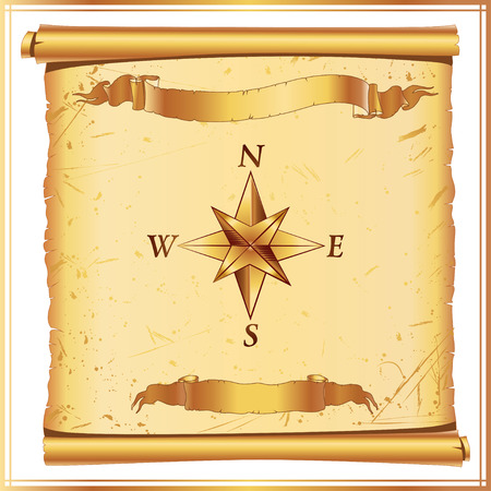 lacerated: old vintage parchment with wind rose. vector illustration. part of collection. good for your vintage design