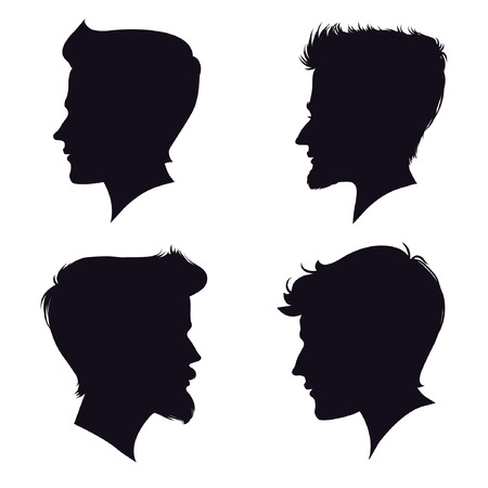 sholders: four different men silhouette. vector illustration. detailed drawing. part of collection. good for your design!