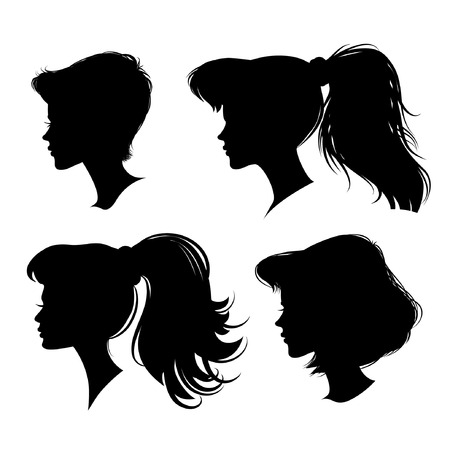 sholders: four different young girl silhouette. vector illustration. detailed drawing. part of collection. good for your design!