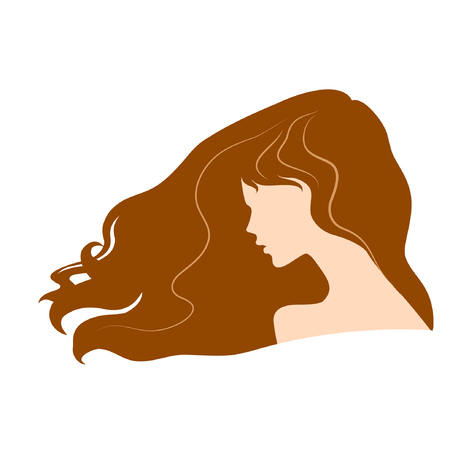 sholders: silhouette of a beautiful girl with flying brown long hair.vector illustration. part of collection. good for your design