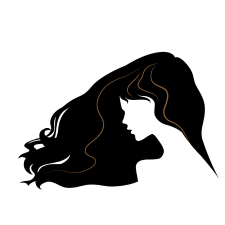 sholders: silhouette of a beautiful girl with flying long hair. vector illustration. part of collection. good for your design