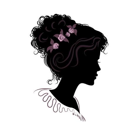 silhouet van een mooi meisje met gestapeld haar. vectorillustratie gedetailleerde tekening. deel van collectie. goed voor je ontwerp Stock Illustratie