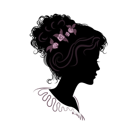 sholders: silhouette of a beautiful girl with hair stacked. vector illustration. detailed drawing. part of collection. good for your design Illustration