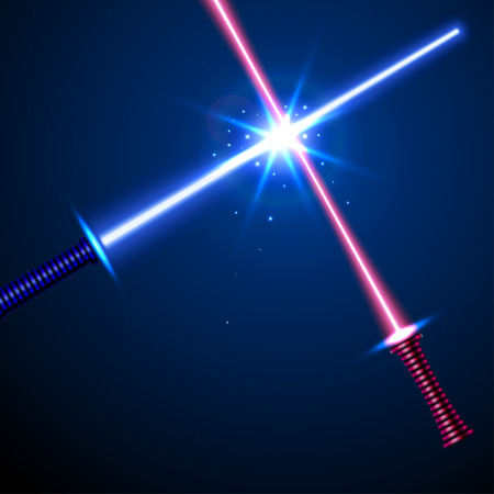 horisontal: two crossed laser swords red and blue  vector illustration. part of collection. good for your cool design!