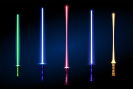 set of different color laser light swords. vector illustration. part of collection. good for your cool design Illustration