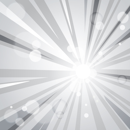 hot spot: grey comic cartoon background with moving rays and sunbeams. part of collection. vector illustration. good for your design! Illustration