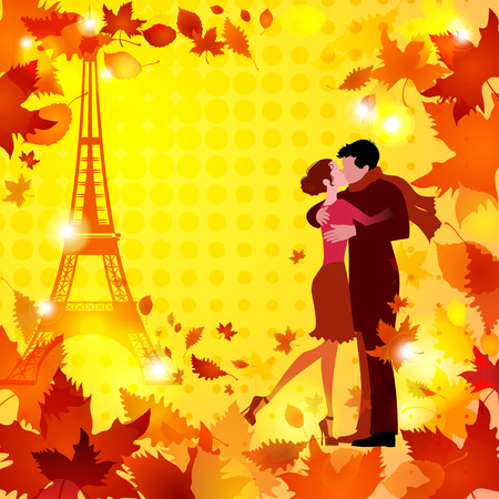 hot couple: hot autumn with couple in love and Eiffel Tower on halftone background vector illustration  good for your warm autumn design Illustration