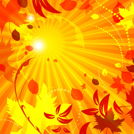 spot the difference: simple autumn template vector background with flying leaves good for your autumn design