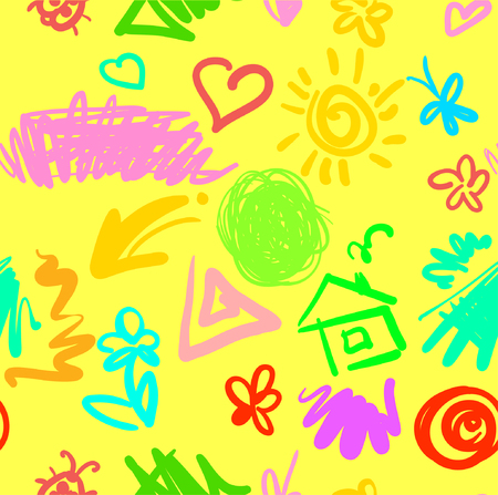 quadrate: summer tender funny seamless pattern with drawn spots stripes butterflies and flowers yellow version vector illustration good for your design Illustration