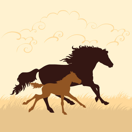 Horse and foal silhouettes vector illustration