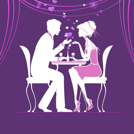 winetasting: couple in love in a cafe on purple background vector illustration