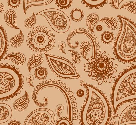 ringlet: mehndi brown henna painting seamless pattern vector illustration